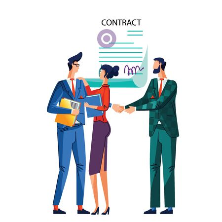 Contract conclusion concept vector illustration. Satisfied businessmen shake hands against signed agreement with seal and signatures, woman stands with hand on his background