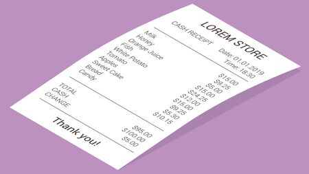 Isometric shop receipt, realistic isolated vector illustration. Straight and curled paper payment bill for cash payment transaction with goods and their price, total amount, cash and change