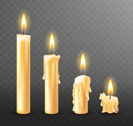 Brennende Kerze mit tropfendem oder fließendem Wachs, realistische Vektorillustration. Weiße Kerzen mit goldener Flamme beleuchtet und geschmolzenem Wachs auf transparentem Hintergrund isoliert. Kirche oder Weihnachtskollektion Vektorgrafik