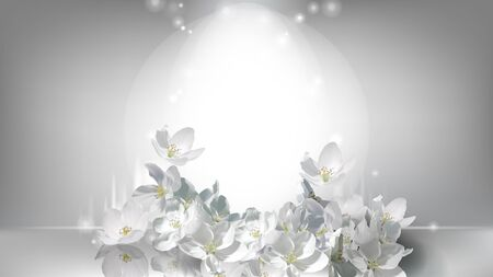Cosmetic realistic silver vector poster with shining light in center and falling white jasmine flowers. Promo banner template with flying flower for advertising of natural or organic cosmetics product Иллюстрация