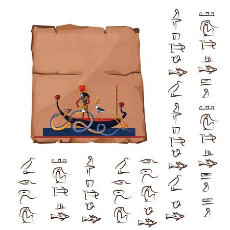 Ancient Egypt papyrus cartoon vector with hieroglyphs and Egyptian culture religious symbols, Ra, sun god at night sails in boat on underground river and fights with chaos god serpent Apophis