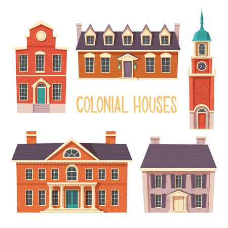 Urban retro colonial style building cartoon vector set illustration. Old residential and government buildings, Victorian houses isolated on white background Çizim