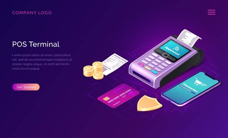 POS terminal business concept vector isometric illustration. Contactless payment security concept, point of sale payment machine, credit card and smartphone next to golden shield and coins, web banner 向量圖像