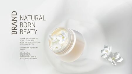 Cosmetic realistic vector background. White open jar with organic cream falling in milk splash near jasmine flowers. Mock up promo banner, concept poster for natural cosmetics, organic product ad