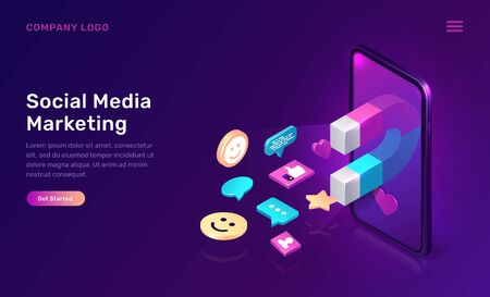 Social media marketing, viral mms, vector isometric concept. 3D mobile phone screen with large magnet attracting social media content icons, like and followers, chat messages, ultraviolet app web page Çizim