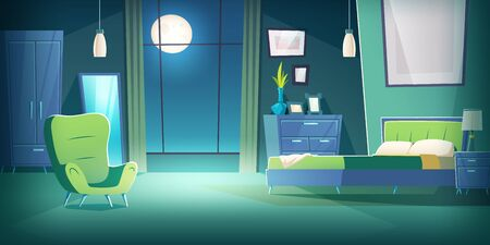 Bedroom interior at night cartoon vector illustration. Comfortable living room interior in moonlight with double bed, wardrobe and mirror, cozy house inside, apartment with furniture background Illusztráció