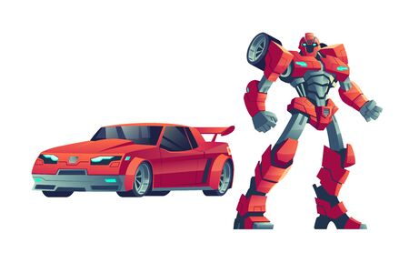 Red robot transformer, cartoon vector illustration. Powerful robot trasformed from car, fantasy space alien, toy super hero isolated on white background