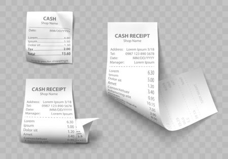Shop cash receipt set of realistic isolated vector illustrations. Direct and curled paper payment bills with barcode, goods and their price, tax and total amount