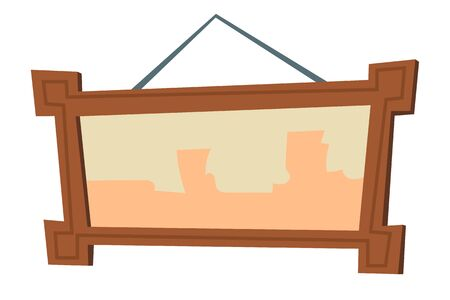 Picture frame cartoon vector illustrations. Element for living room interior, wooden brown frame for picture and photography hanging on white wall, room accessory isolated