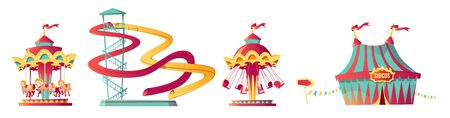 Amusement park, carnival or festive fair cartoon vector illustration. Circus tent arrow pointer, carousel, merry-go-round and waterslide, elements for children summer fun isolated on white background