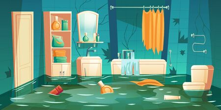 Bathroom flooded interior cartoon vector illustrations. Leaking bathtub, furniture, sink and toilet, racks and shelf, floating in water accessories, accident home background, insurance concept Stock Illustratie