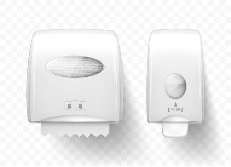 Dispenser for liquid soap and paper towels, realistic vector. White equipment for public toilets, hygiene care and clean hands, soap pump and wall-mounted roll towel holder isolated on transparent