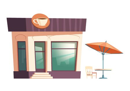 Fast food coffee restaurant building cartoon vector illustration. Facade of food shop and cafe or bistro with signboard of coffee cup, street table with chair under umbrella, isolated on white Ilustração