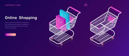 Online shopping, isometric concept vector illustration. Shopping carts empty and with bags, isolated on ultraviolet background, landing web page for mobile app
