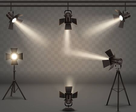 Spotlights realistic vector set. Professional photo and video lamps, hanging and standing on tripod, stage equipment with warm yellow light on transparent background. 일러스트