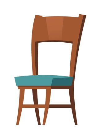 Soft wooden chair furniture cartoon element vector illustrations. Element for living room interior, blue upholstered armchair, home or office room accessory isolated on white Stock Illustratie