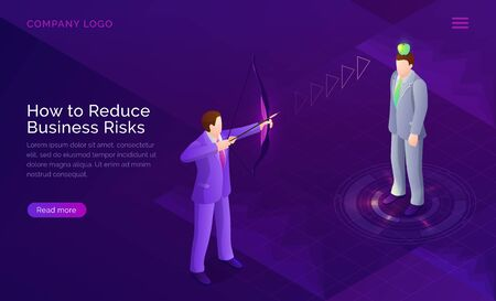 Business risk reduction, project assessment strategy isometric concept vector illustration. Impact reduction, analysis possible losses banne. Businessman shoots archery bow into apple on man head