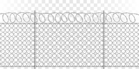 Metal mesh fence with steel spiral barbed wire with spikes, realistic vector illustration on transparent background. Fencing or barrier with doodle element for danger facilities or prisons