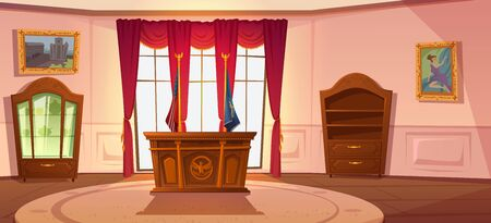 Oval cabinet with furniture, office interior for President United States workplace in official residence White House, desk and wooden bookcase, national flag, paintings on wall, red curtains on window Ilustracja