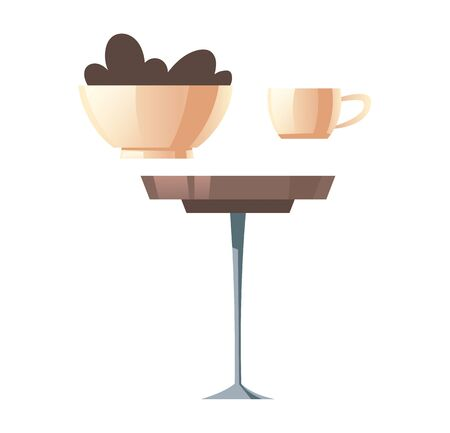 Round coffee table, white cup and bowl with cookies cartoon vector illustration set, side view isolated on white background