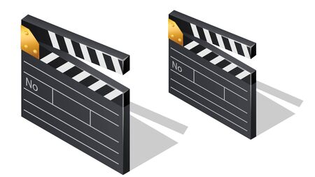 Cinema film clapperboards isometric icons with shadow cartoon vector illustration isolated on white background. Movie industry element, clapper for shooting footages or movie scenes Çizim