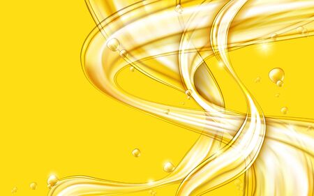 Yellow golden flowing liquid vector abstract background, oil texture. Streams of oil, honey or fluid with light element. Template for cosmetic or sale banner or flyer.