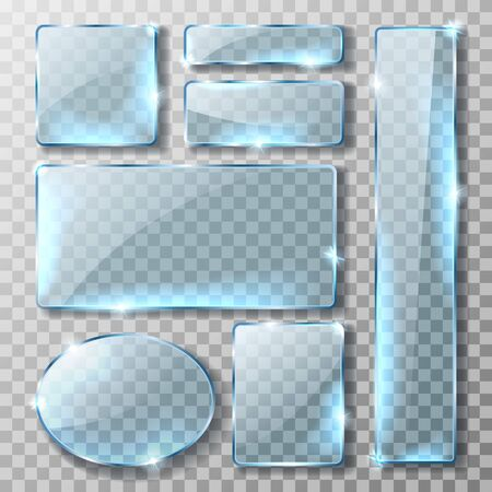 Glass banner or plate, set of realistic vector illustrations. Blank rectangular and round blue acrylic glass panel with reflection and glossy glow isolated on transparent background, button or badge