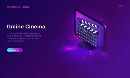 Online cinema or movie, isometric concept vector illustration. Computer monitor or TV screen, clapperboard on ultraviolet background. Home cinema website landing page