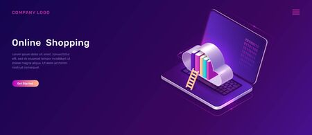 Online library or education isometric concept vector illustration. Open laptop, cloud with book library and wooden ladder on violet background, landing web site page for educational, language courses