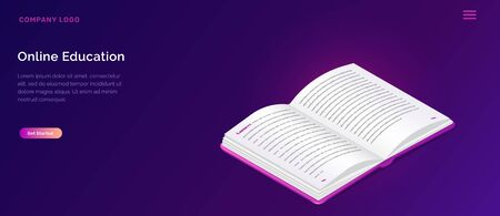 Online library or education isometric concept vector illustration. Book with open pages on violet background, landing web site page for educational, language courses