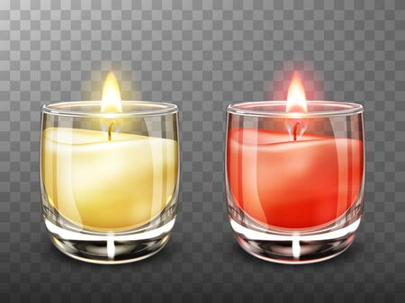 Candle in glass realistic vector illustration. Yellow and red burning candles with transparent clear glass jar isolated on transparent background. Elements for festive Christmas or romantic decor Vektorové ilustrace