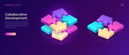Collaborative development, isometric business concept vector. Color puzzle elements or icons on ultraviolet background. Teamwork, cooperation, partnership and trust 3d concept