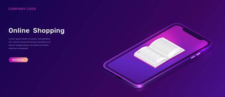 Online library or education isometric concept vector illustration. Mobile phone screen with open book on violet background, landing web site page for educational, language courses