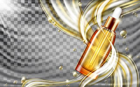 Cosmetic skin care oil or serum realistic vector poster. Glass pipette bottle with golden liquid, flowing streams or gold splashes flying drops on transparent wavy background. Natural cosmetics