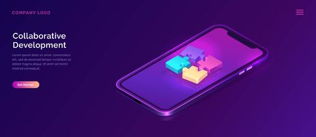 Collaborative development, isometric business concept vector. Mobile phone screen with color puzzle elements or icons on ultraviolet background. Teamwork, cooperation, partnership and trust 3d concept Иллюстрация