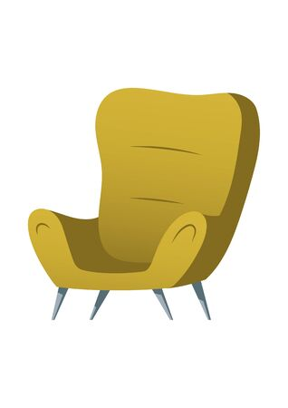 Soft chair furniture cartoon element vector illustrations. Element for living room interior, green upholstered armchair, home or office room accessory isolated on white