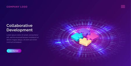 Collaborative development, isometric business concept vector. Color puzzle elements or icons on ultraviolet background with glowing blue neon ring. Teamwork, cooperation, partnership and trust concept Фото со стока - 140895993