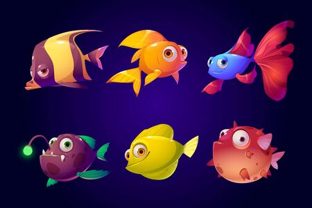Sea fish set, tropical colorful aquarium and ocean underwater creatures with cute smiling faces and big eyes, characters for computer game, goldfish, wild angler, puffer Cartoon vector illustration Reklamní fotografie - 140988746