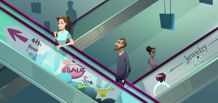 People on escalators in mall. Moving staircase, automatic ladder carrying man and woman up and down. Vector cartoon illustration of elevator stairs in shopping center