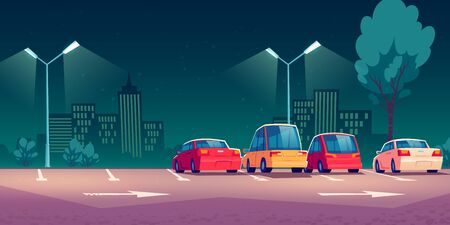 Cars on city parking with street lights at night. Vector cartoon illustration with modern automobiles parked in town and cityscape on background. Urban landscape with road, vehicles and buildings Stock Illustratie