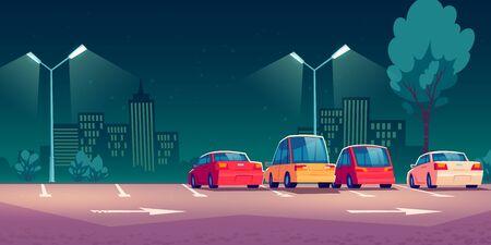 Voitures sur le parking de la ville avec lampadaires la nuit. Illustration de dessin animé de vecteur avec des automobiles modernes garées en ville et paysage urbain sur fond. Paysage urbain avec route, véhicules et bâtiments Vecteurs