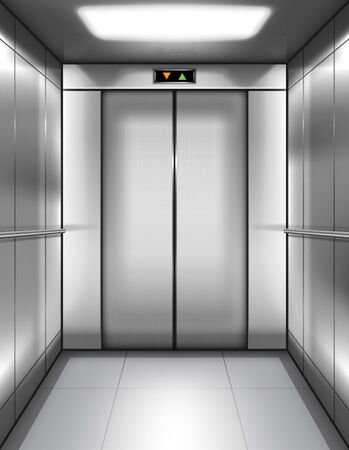 Empty elevator cabin with closed doors and digital display with arrows up and down. Vector realistic interior of passenger or cargo lift with metal walls and handrails in office building or house