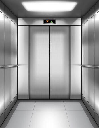 Cabine d'ascenseur vide avec portes fermées et affichage numérique avec flèches haut et bas. Intérieur réaliste de vecteur d'ascenseur de passager ou de cargaison avec les murs et les balustrades en métal dans l'immeuble de bureaux ou la maison