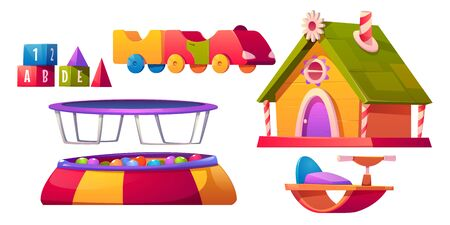 Kids playroom furniture and equipment set isolated on white background, dry pool with balls, trampoline, wooden house, train, block cubes toys for children games Cartoon vector illustration, clip art 일러스트
