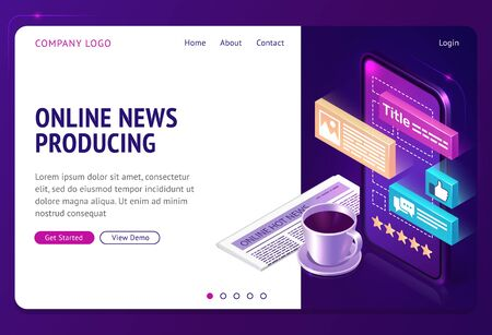 Online news producing isometric landing page. Coffee cup stand near newspaper and smartphone with informational icons on screen. Worldwide social media business, 3d vector illustration, web banner