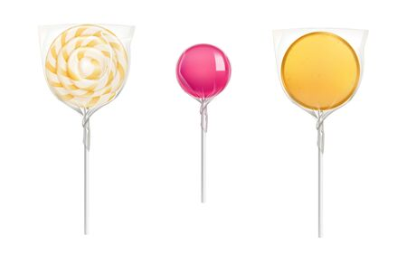 Lollipop candies in transparent plastic pack isolated on white background. Vector realistic mockup of round caramel on stick in clear package. Icons of wrapped sweets