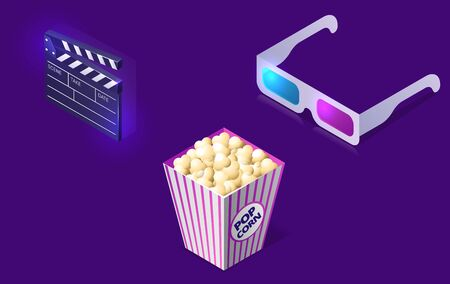 Cinema or movie icons isometric concept vector illustration. Popcorn bucket, 3D glasses and clapper isolated on ultraviolet background. Vettoriali