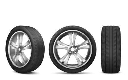Sport car wheel with japanese steel disk isolated on white background front and side view. Realistic 3d icon of modern black rubber tire for advertising of automobile service, rally 向量圖像