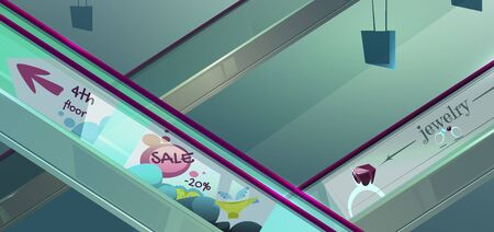 Escalators in mall. Moving staircase, automatic ladder with glass railing with advertising and sale information. Vector cartoon illustration of elevator stairs in airport, metro, shopping center