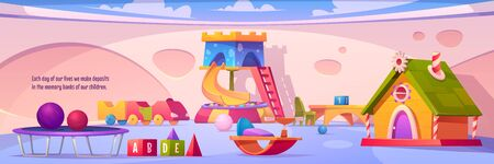 Kids playroom interior, empty indoors playground with furniture and equipment for games slide with dry pool and balls, trampoline, wood house, toys and desks for children Cartoon vector illustration Stock Illustratie